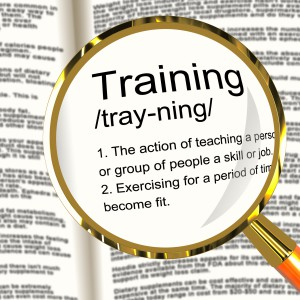 Training Definition Magnifier Showing Education Instruction Or Coaching