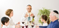 jewish family in seder celebrating passover